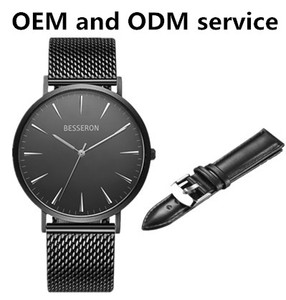 customize all black london quartz watches stainless steel citizens quick release black stretch band watch