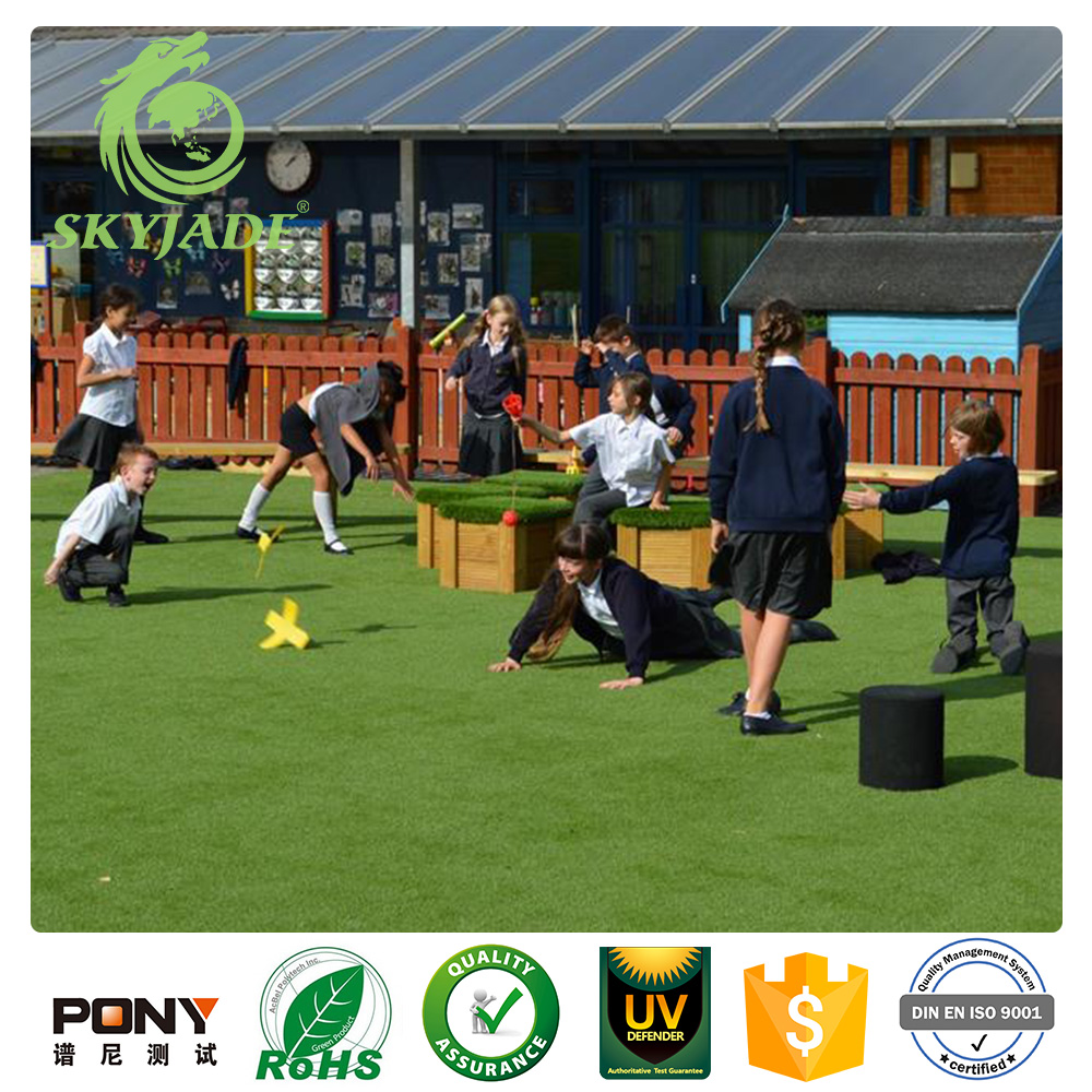 Skyjade Spring Color Artificial Grass 40mm Mat For Playgrounds And School Synthetic Turf Prices