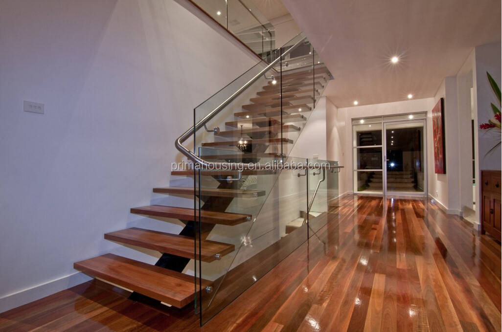 Diy Floating Stairs Wood Glass Railing Wood Staircase