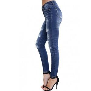 Jeans Women Modern Fashion Blue Distressed Skinny High Waist Ladies Jeans Denim Pants