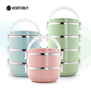 WORTHBUY Japanese 304 Stainless Steel Kids Lunch Boxs For Children School Bento Box Portable Fruits Food Container Picnic Set