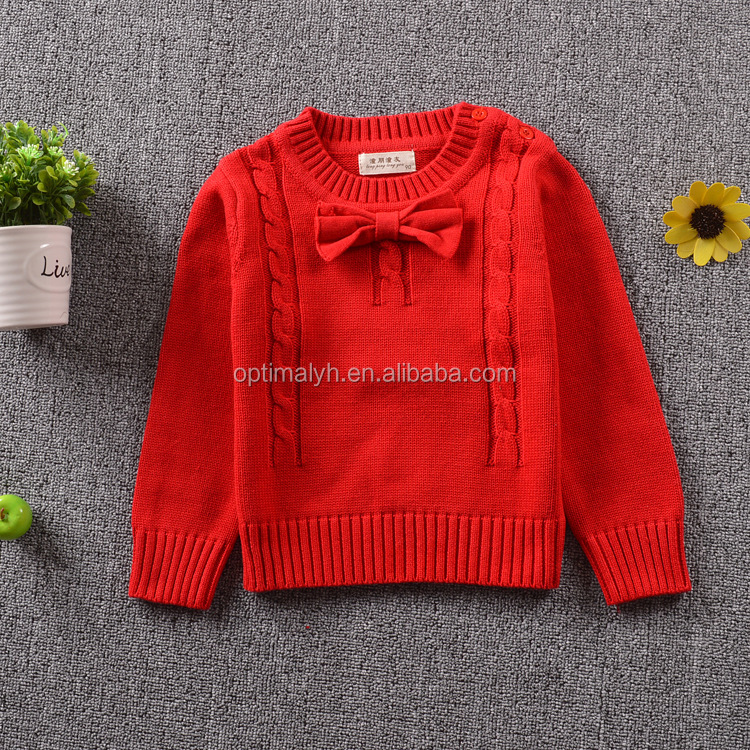 New south Korean bowknot lovely pure cotton fashion children's wear sweater