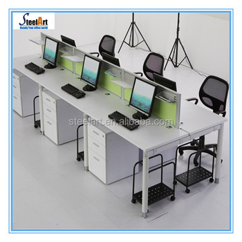 Superb Stainless Steel Office Desk Set Work Station For Saving Space And  Convenient Usage