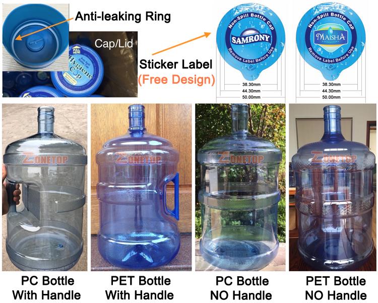 SGS Qualità Ben PET Materiale del PC Bere 5 Gallon 20L 18.9L 19L 19 litro di Acqua Bottiglie