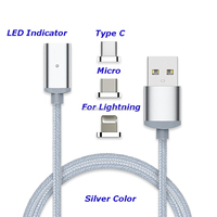 Best Selling Silver color nylon braided LED indicator magnetic usb cable with LED indicator for iphone for micro for type c