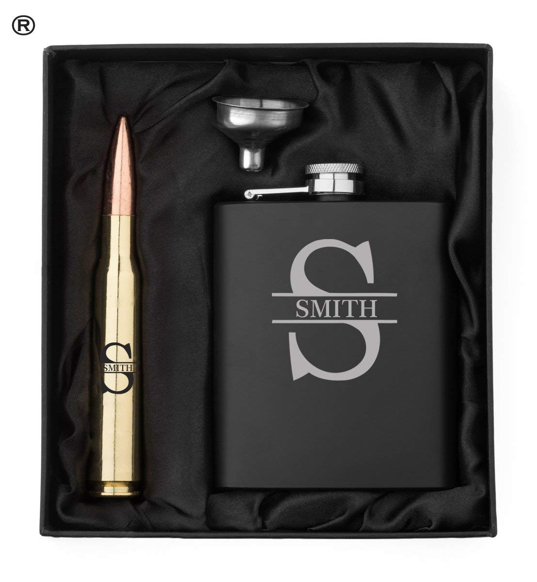 Monogram Initial Engraved Matte Black Hip Flask, Funnel and Brass 50 Caliber Bullet Bottle Opener Gift Box 50 Cal Custom Personalized