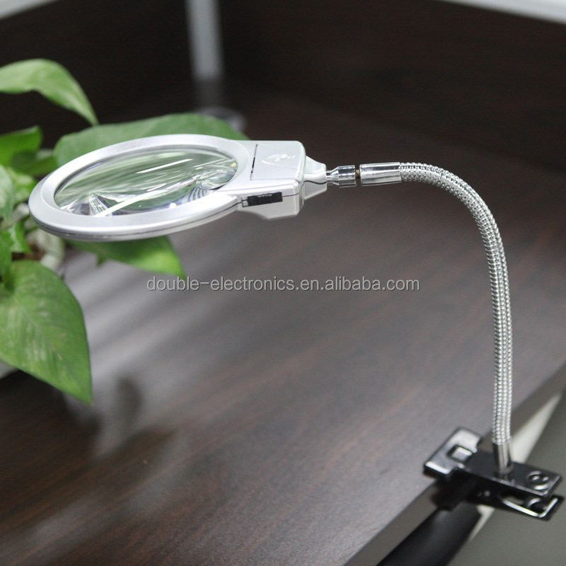 Reading Lamp Light with Clamp Folding Magnification 2.5X 5X LED Magnifier Metal Hose Magnifiers Loupe Desktop Magnifying Glass