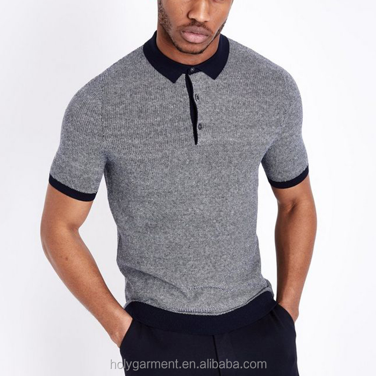 Quality Short Sleeve Mens Cotton Custom Knitted  Polo Shirt