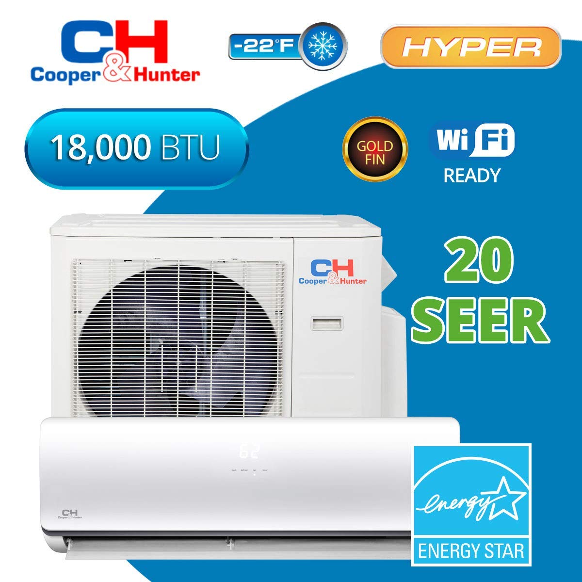 Get Quotations · COOPER AND HUNTER Dakota Hyper Heat 18,000 BTU 20 SEER  Ductless Mini-Split Air Conditioners