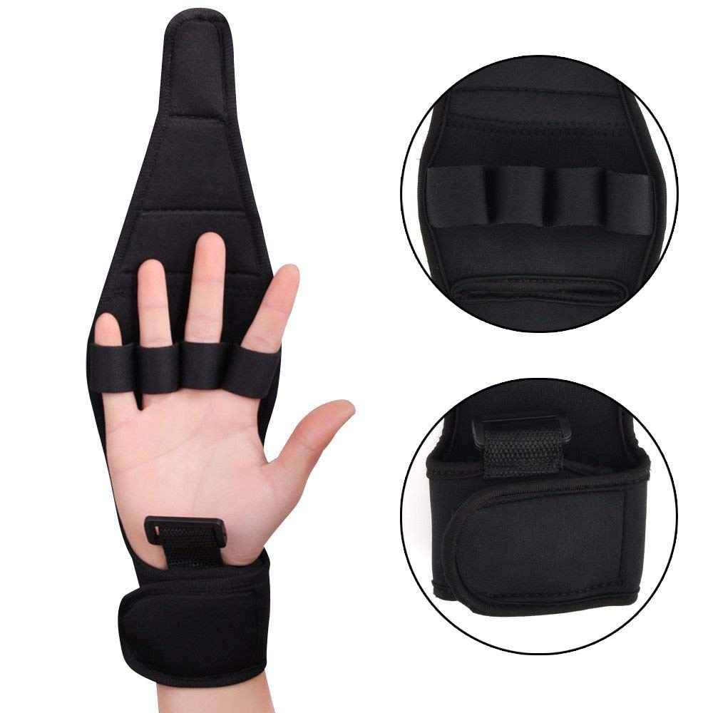 Zinnor Finger Splint Brace ability, Finger Anti-Spasticity Rehabilitation Auxiliary Training Gloves, Finger Gloves Brace Elderly Fist Stroke Hemiplegia Sport Hand Training [Single Hand] - Black