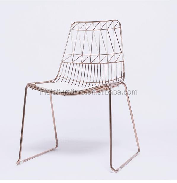 treillis métallique en métal fer À manger chaise fil d'or en métal ... - Chaise En Fil De Fer