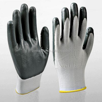 Cheap Smooth Black Nitrile Dipped Glove For Work Safety