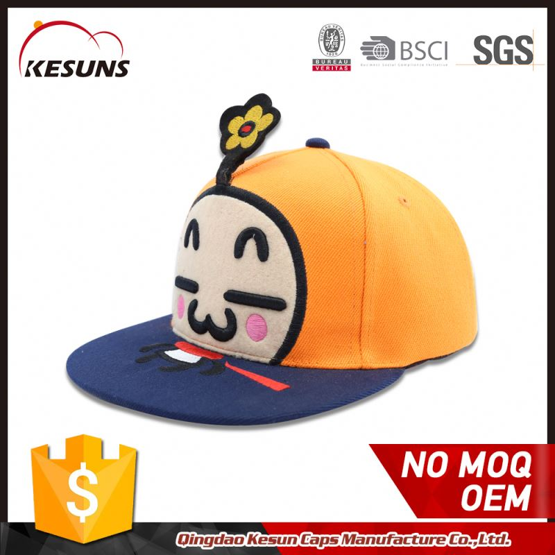 Oem Short Brim 3d Embroidery Logo Snapback Cap For Kids Cap Hat