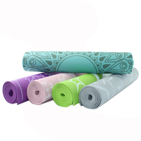 Premium Print PVC Yoga Mat 1/4 Inch Thick Non slip With Carry Strap