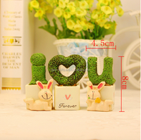 resin rabbit set lovers fashion creative home accessories wedding gift