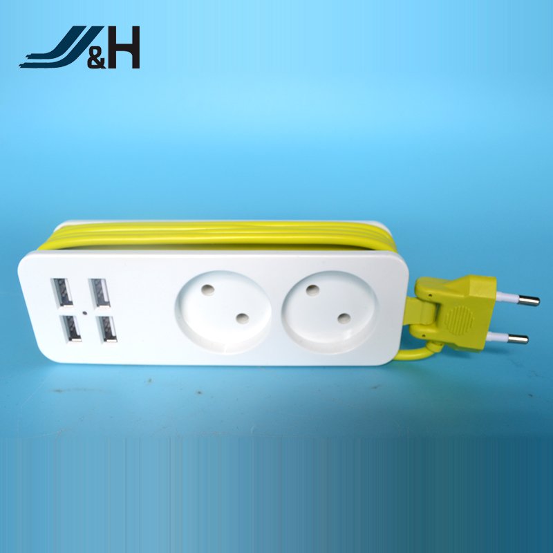 JHCES314 EU Standard Double Socket 4USB Ports Extension Socket