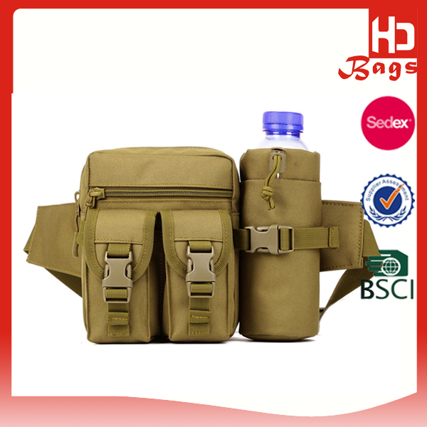 Outdoor Men Tactical Military Travel Hiking Water Bottle Canvas Tool Men Waist Bag
