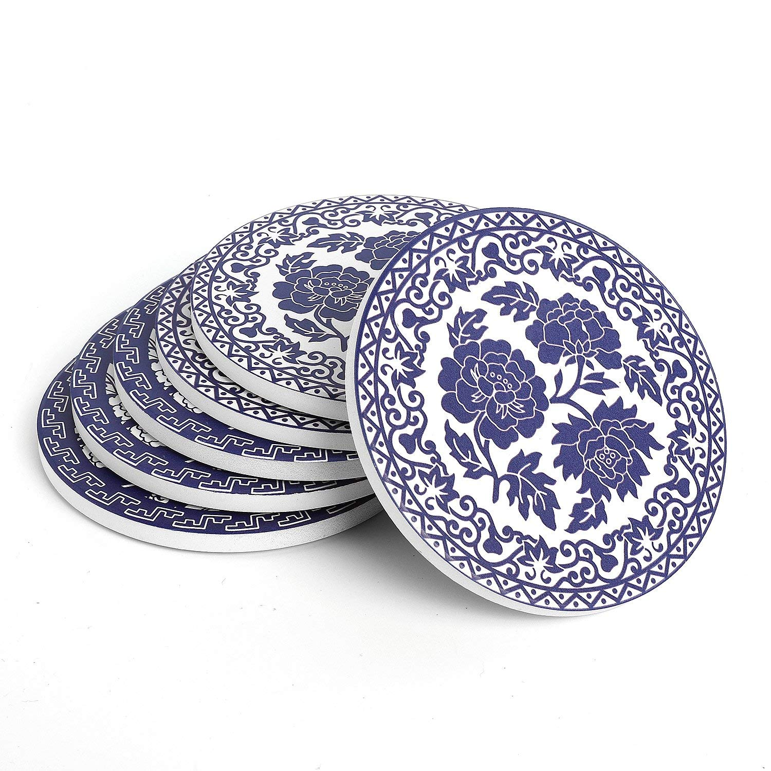 Teocera Drink Coasters - Blue and White China Absorbing Stone Coasters with Cork Base, Prevent Furniture from Dirty and Scratched, Stone Coasters set Suitable for Kinds of Mugs and Cups, Set of 6
