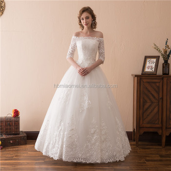2018 Hot White Color Offer Shoulder Floor Length Wedding Dress Bridal Gown With Half