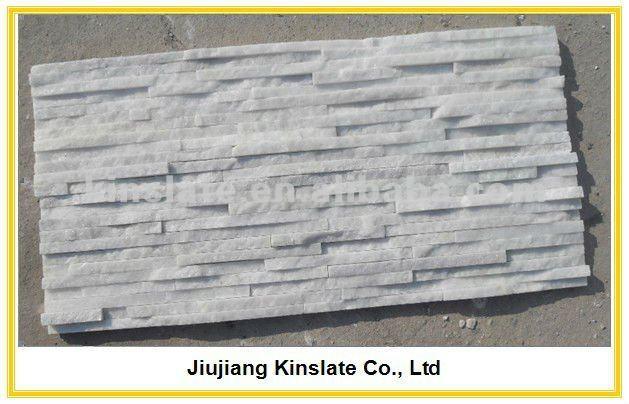 blanco natural cuarcita tiras delgadas de paneles para pared interior de la piedraen pizarra de piedra natural en