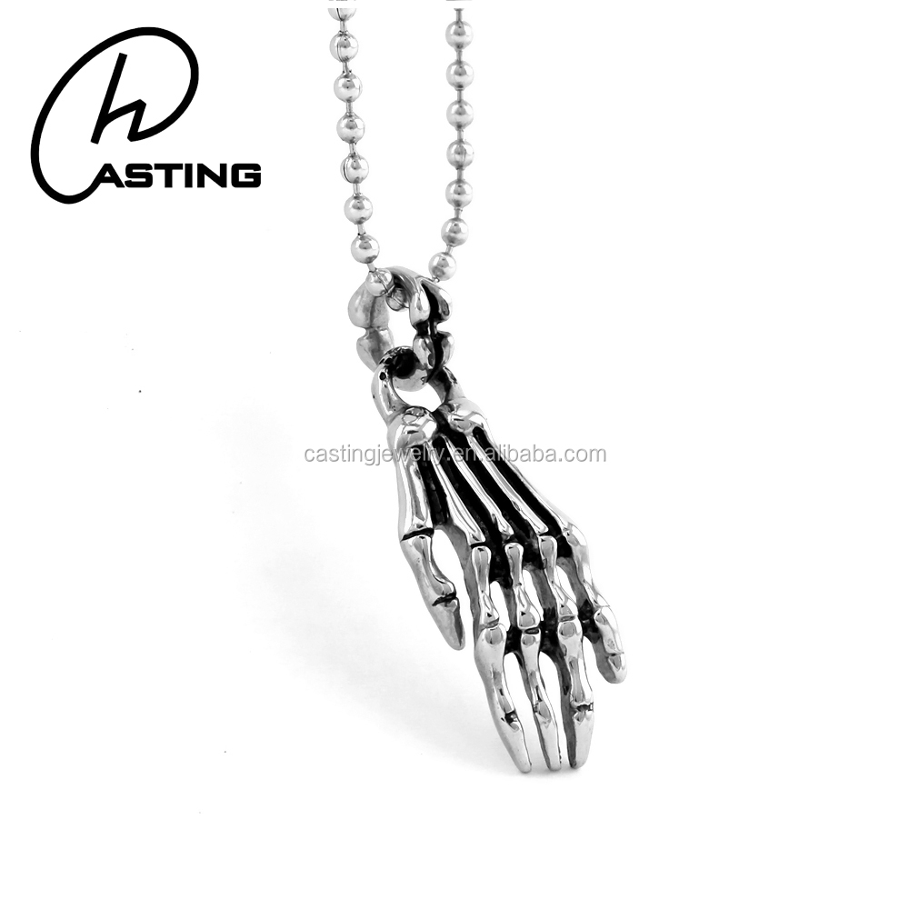 Custom Stainless Steel Silver Charm Hand Shaped Pendant For Man