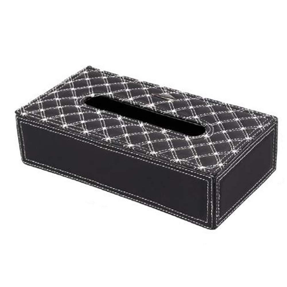 ANQI Tissue Box Cover Holder Leather Rectangular Napkin Holder Kleenex Facial Tissues Case for Bathroom, Bedroom, Car 2PCS