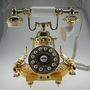 XINHAOK European antique telephones metal classic European retro home telephone villa for living room decor princess paragraph , white