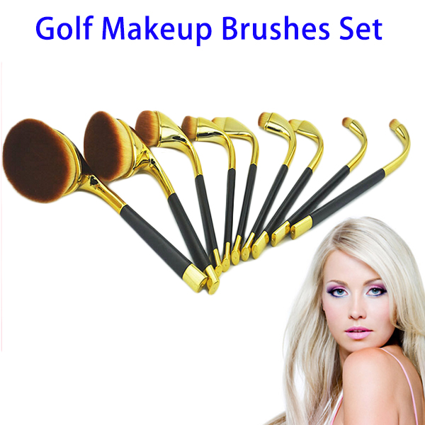 2016 New Personalized Golf Makeup Brushes Set, Synthetic Fiber Wool Make Up Brush