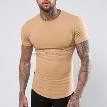 Custom Longline Sand Color Curve Bottom T Shirt Muscle Fit Men Tee