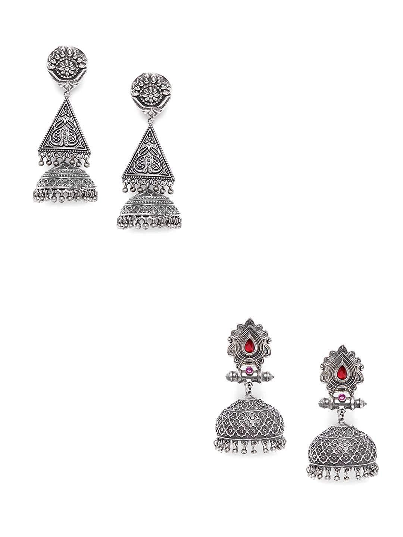 ZeroKaata/Fashion Jewellery Floral Motifs Tribal Jewellery Silver Plated Jhumkis Combo For Women /& Girls