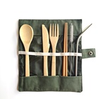 Set Sustainable Bamboo Cutlery Set Organic Travel Cutlery Set With Carrying Pouch Spoon Knife Fork
