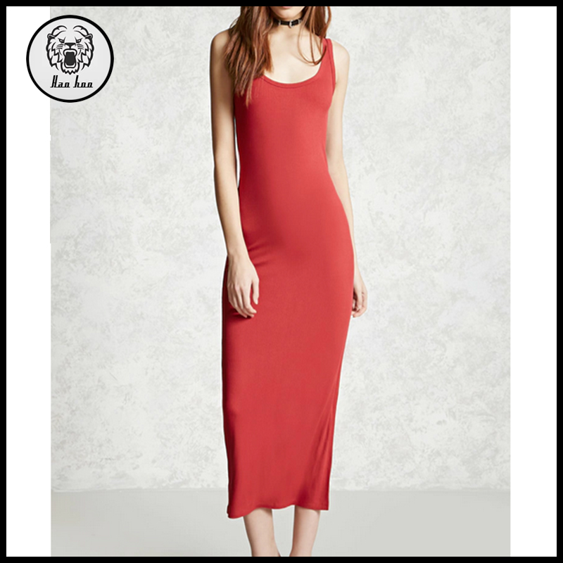 Summer Women Bodycon Side-Slit Maxi Dress Sleeveless Ribbed Knit Dress