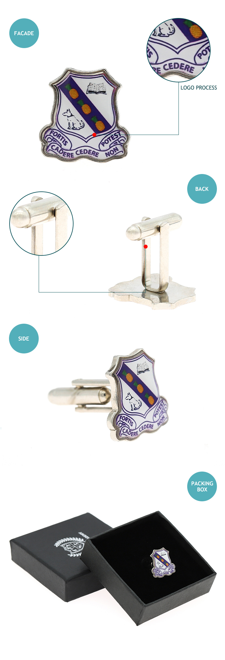 Funny Cartoon custom logo metal hard enamel tie cufflink with box
