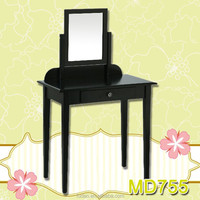 Tribesigns Wood Makeup Vanity Table Set with 1 Mirror and Stool Bedroom Dressing Table Dresser Desk, Black