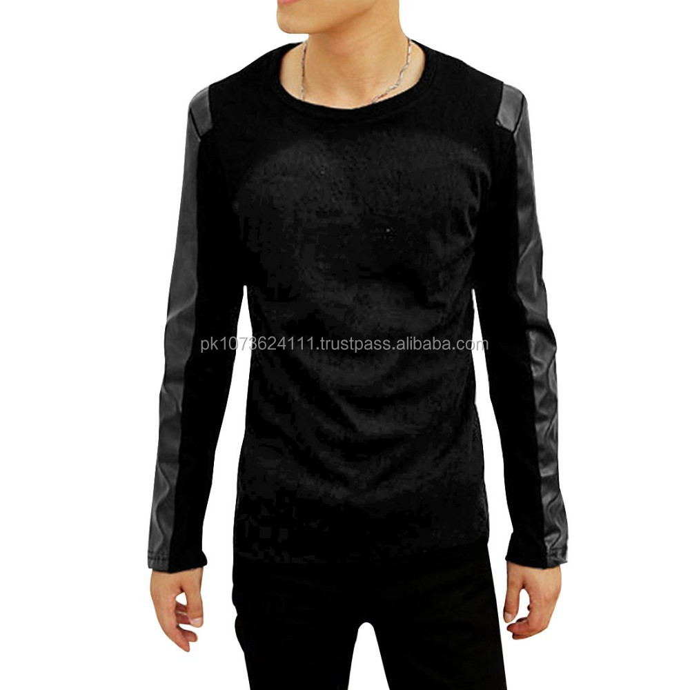 Shirt new design 2015 - 2015 New Design Men S Leather Long Sleeve T Shirt Shirts Buy Leather Sleeve T Shirts Design Your Own T Shirt Latest T Shirt Designs For Men Product On