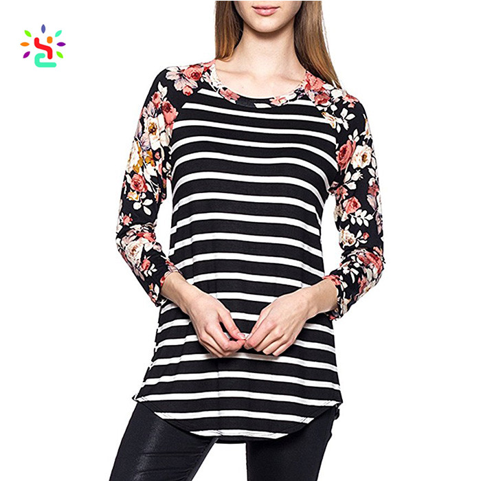 Wholesale women's casual raglan 3/4 sleeve t shirt comfortable o-neck striped basic floral printed rayon tunic top blouse