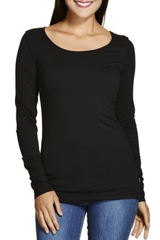 8f57e0426c4 Women Black Plain Shirt With Long Sleeve And Slim Fit - Buy Shirt ...