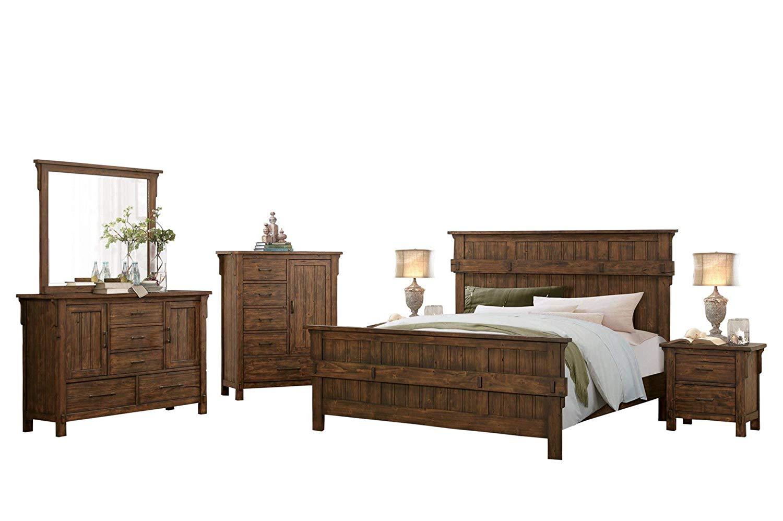 Tanhill Rustic Craftsman 6PC Bedroom Set Queen Bed, Dresser, Mirror, 2 Nightstand, Chest in Reclaimed Oak
