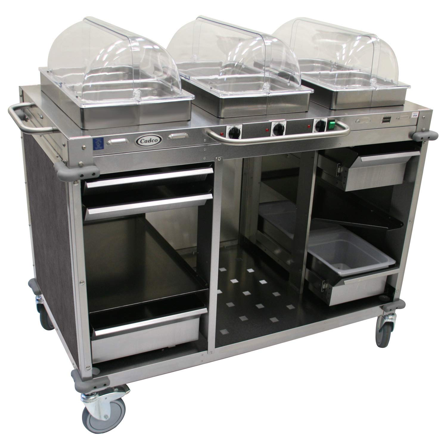 "Mobile Hot Buffet Cart Size: 49"" H x 55.5"" W x 28.75"" D, Color: Mission Smoke Grey"