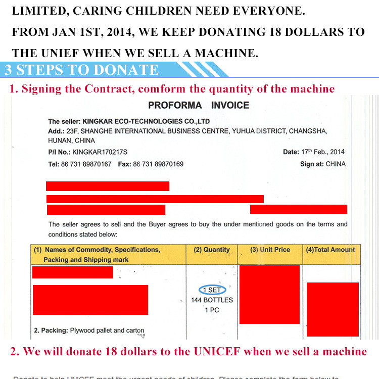 You buy a carbon clean machine, we donate 18 dollars to the UNICEF