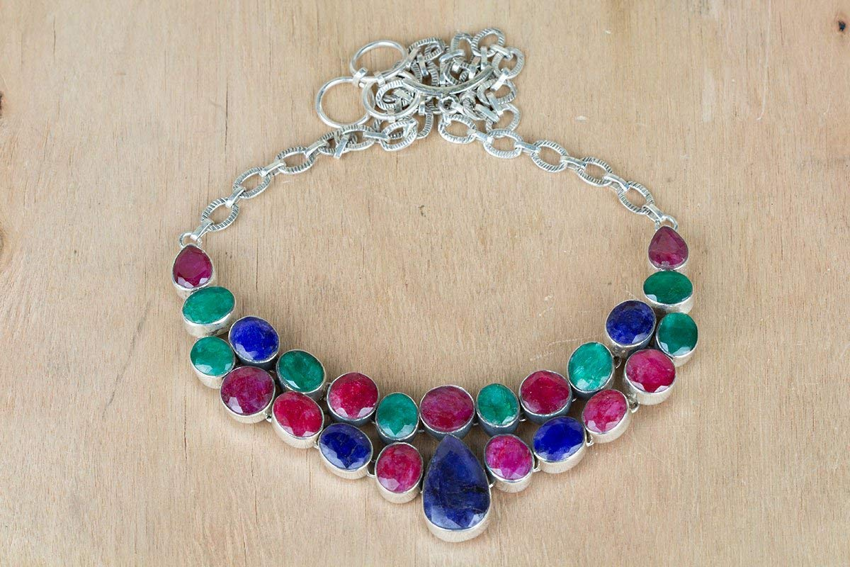 Sterling Silver Necklace, Multi stone Necklace, Multi Color Necklace, Bridal Necklace, Ruby Sapphire Emerald Lab Necklace, Mermaid Gift, 925 Silver Jewelry, Handmade Necklace