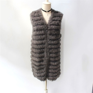 Fashion Natural Colour Autumn Winter Vest Knitted Real Rabbit Fur Women Waistcoat