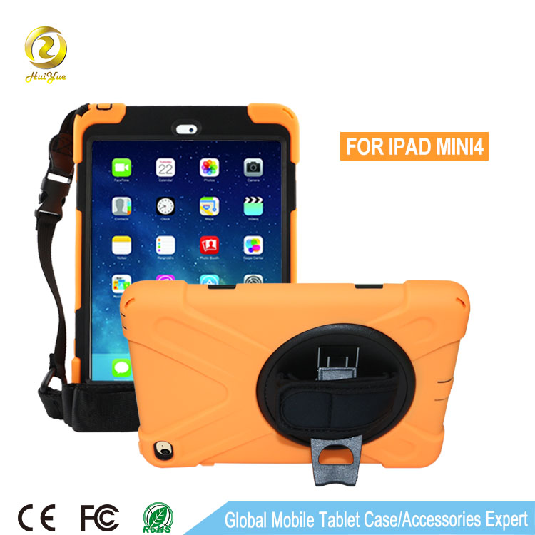 Brand new case cover for ipad mini 4 protective Silicone +PC 3 in 1 hybrid case with kickstand
