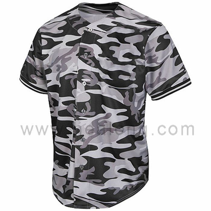 Healong Gesublimeerd Custom Design Mannen Camo Honkbal Jerseys