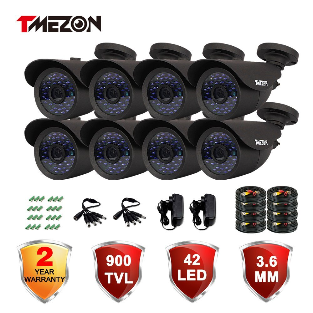 "TMEZON 8 Pack 1/3"" Cctv Security Camera 900TVL 960H Day Night Vision Had IR-Cut Home Security Camera Outdoor Weatherproof 42IR Infrared LEDs 3.6mm Lens Surveillance Camera w/power adapter cable"