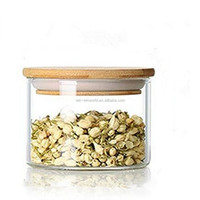 Promotional Wholesale BPA Free Clear Glass Food Tea Storage Jar With Airtight Bamboo Lid