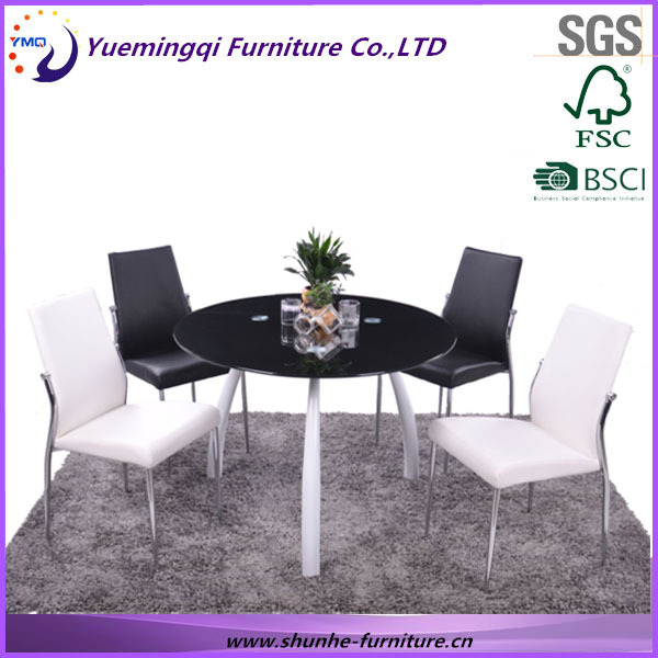 modern round designer 4 person dining table and chair living room furniture