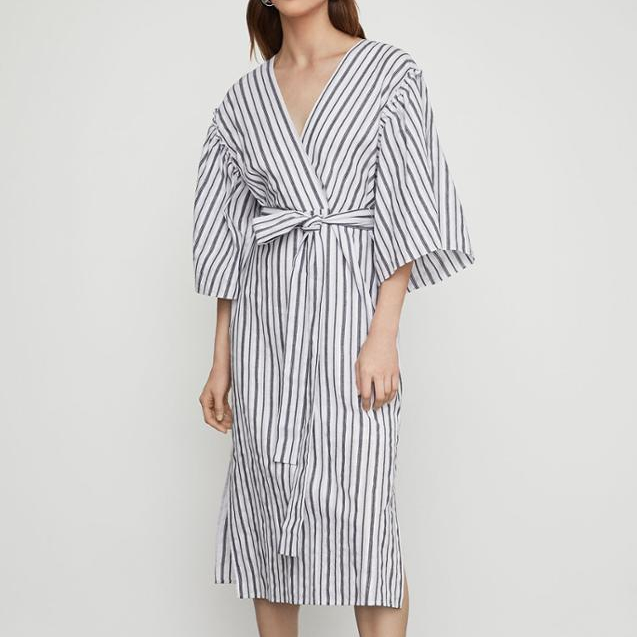 Wholesale Women Fashion cotton V Neck short Sleeve casual dresses Striped <strong>Faux</strong> <strong>Wrap</strong> Robe Dress loose dress casual