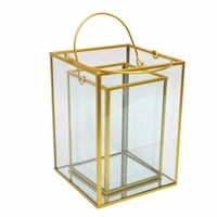 Set of 2 Gold Silver Black Rectangle Stainless Steel Metal Centerpieces Glass Candle Holder Storm Lantern