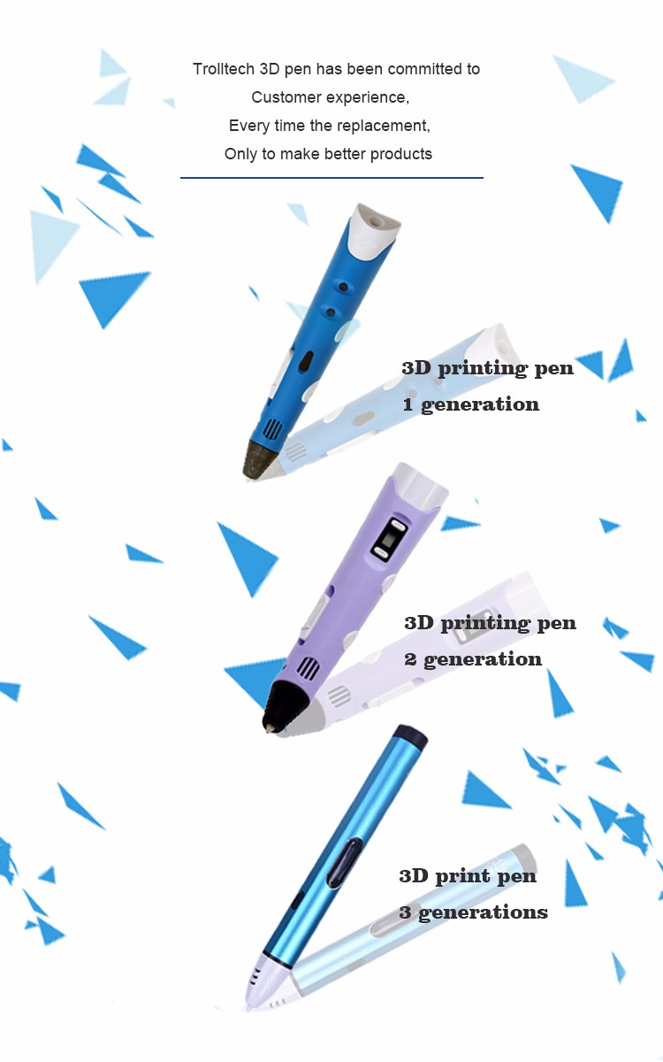 Magic 3D Drawing Pen for Children Kids Students with ABS/PLA/PCL 1.75mm Colorful Filaments Come with Gift Box